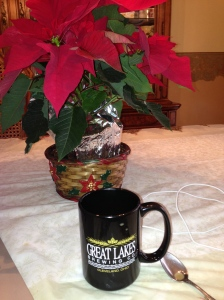 Drinking coffee from my favorite Great Lakes Mug!